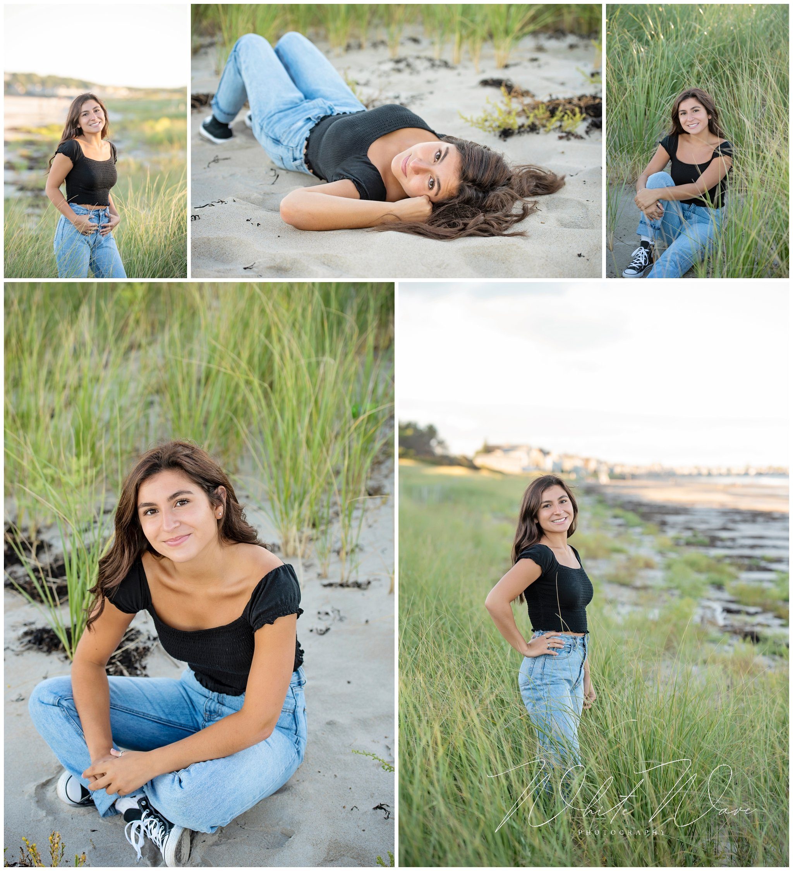 senior photo session on the beach in NE NH